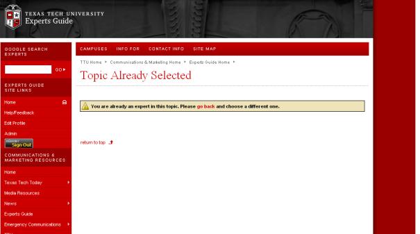 Texas Tech Experts Exchange Screenshot