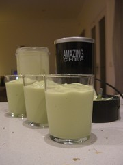 Avocado, milk, condensed milk and ice smoothie...