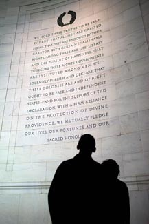 President Barack Obama and his daughter Malia read an excerpt from the Declaration of Independence at the Jefferson Memorial, Sept. 27, 2009. (Official White House photo by Pete Souza)