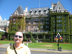 Tom in front of the Empress Hotel, Victoria BC