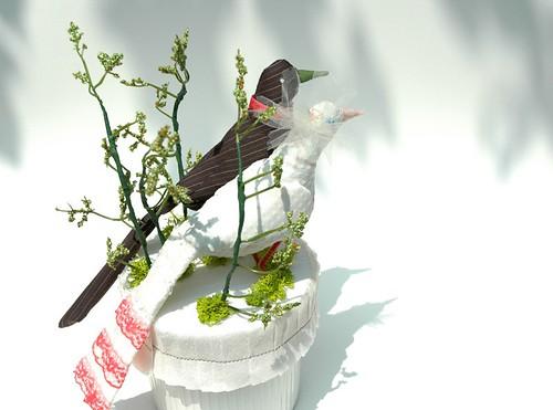 Bird cake topper, pink details