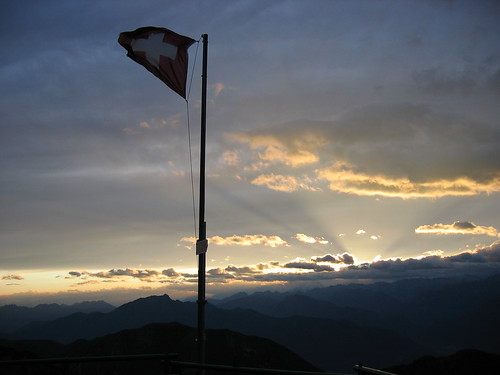 The Swiss flag on a mountain top in Ticino