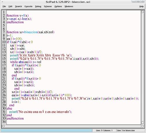 Códigos de ecuaciones no lineales en Scilab
