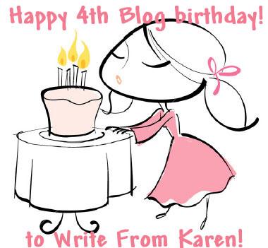 Write From Karen's 4th Blog Birthday