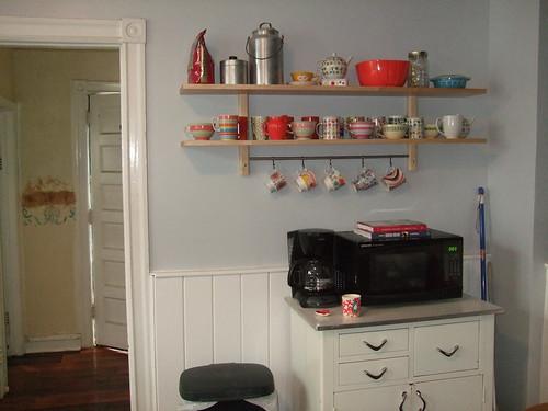 Ikea shelf with stuff on it