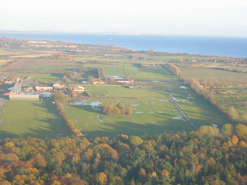 Danish countryside with individual farmhouses and fields