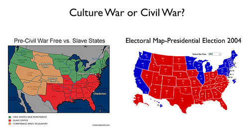 Comparative Analysis -> These maps demonstrate correlate divisions between Red/Blue states of the 2004 Election Cycle and the Secessionist/Unionist states of the Civil War...