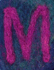 Alphabet ATC or ACEO Available - Needlefelted Letter M