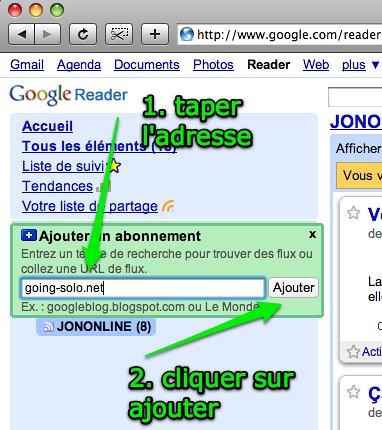 Google Reader: détail d'ajout d'abonnement