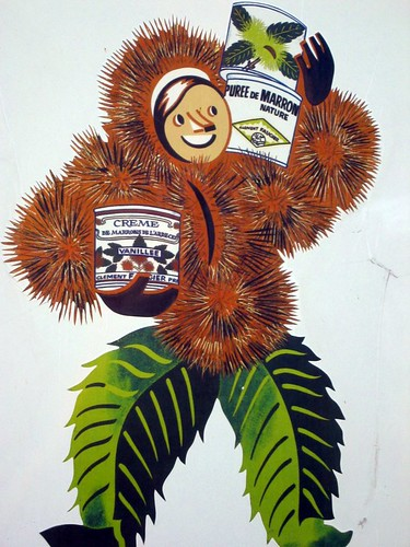 The mascot of Creme de Marrons, manufactured in the Ardeche department.