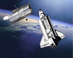 spaceship, space shuttle, discovery, hubble telescope, outer space, planet, satellite,