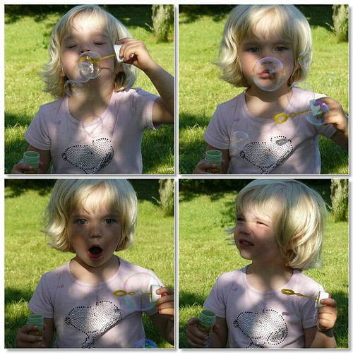 Blowing soap bubbles - mosaic