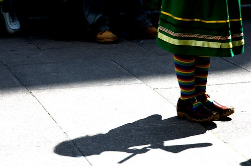 Morris Dancer in front of Westminster Abbey