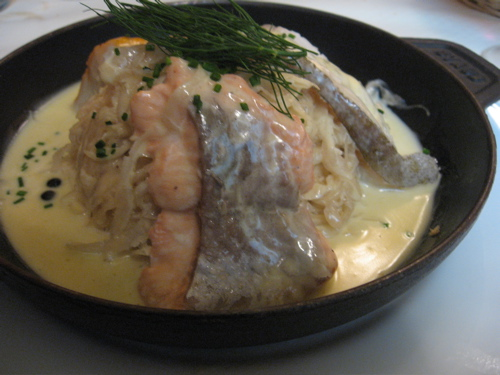 Choucroute with three types of fish