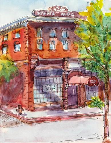 Hotel Mac, Pt. Richmond, Ink & Watercolor
