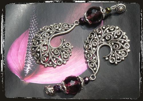 Orecchini viola - Purple extra large handmade earrings MEHGVXL
