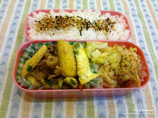 這個還在自己帶便當清冰箱的階段,自己吃的兩菜就可以了:玉米筍炒牛肉、炸雞柳條。