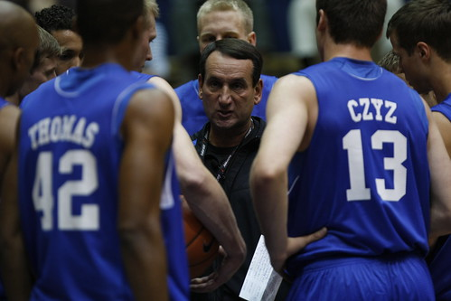 Duke head coach Mike Krzyzewski talks to his team in the Blue Devils first open practice Friday. They tip the season Saturday in the annual Blue-White scrimmage. Photo by Chase Olivieri/The Chronicle