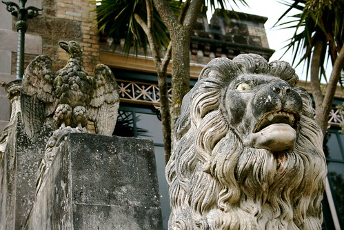 Lion guarding the entrance to Larnach Castle