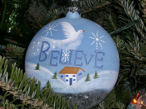 "Blue ""Believe"" ornament"