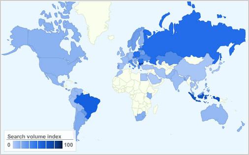 Slackware popularity map