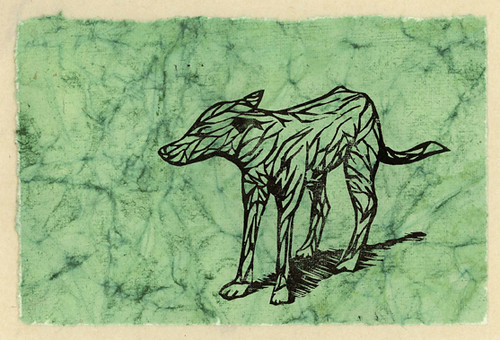 Stray dog on handmade Indian paper