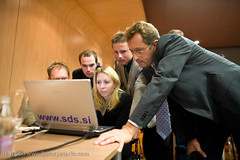 Minister Gregor Virant is checking on computer results for SDS on Parlamentarial elections 2008 in Slovenia._3235