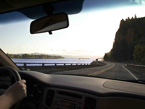 Driving along the Columbia River