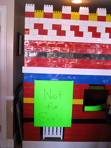 The giant Lego wall is not for sale