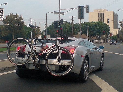 Lamborghini with a bike rack