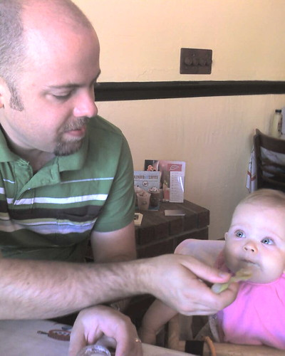 Eating out for Father's Day breakfast - first time in restaurant highchair!