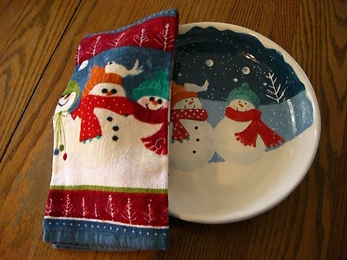 Snowman plate and towel