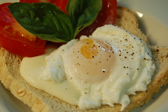 Poached egg caprese