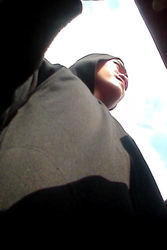 conductor in hoodie
