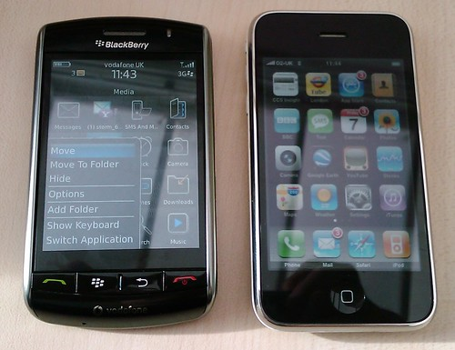 BlackBerry Storm vs Apple iPhone 3G by textlad.