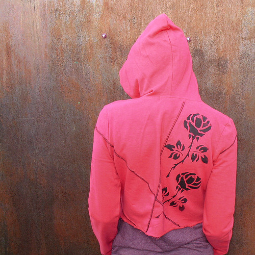 Thorny Rose Tattoo cropped hoodie by RunzwithScissors