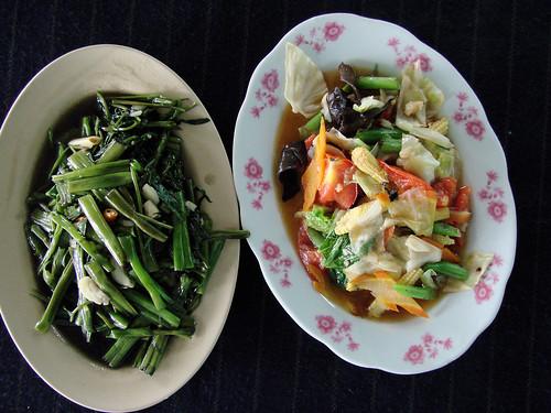 Espinacas de agua y verduras