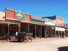 Stores along the main street in downtown Tombs...