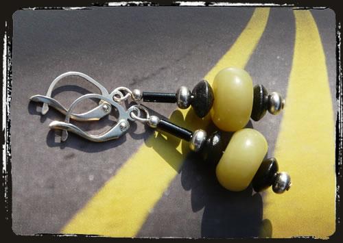 Orecchini giallo nero - Black and yellow earrings MEHIPGN