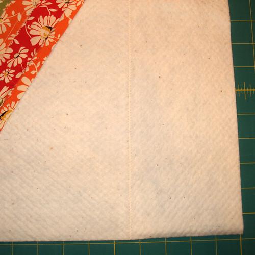 Batting scraps sewn together