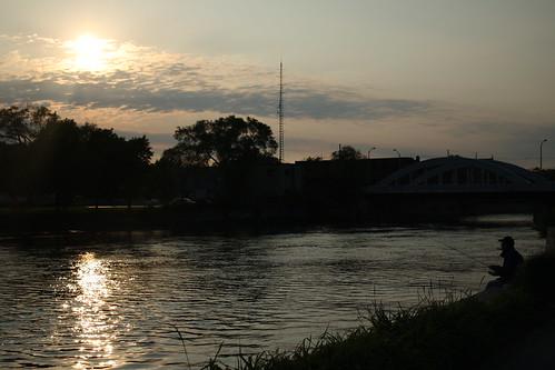 man fishing in belleville's waterfront