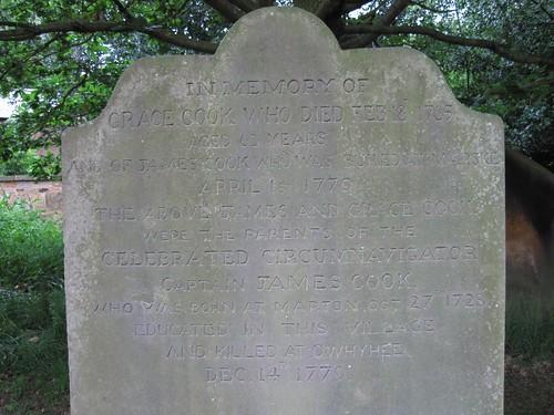 Captain Cooks family grave, Grace Cook
