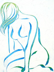 Kneeling - 30x24 Mixed Media on Canvas