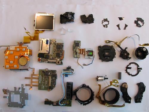 Exploded Olympus camera