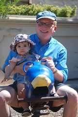 Grandpa and Clara on the Dolphin bouncy-thing