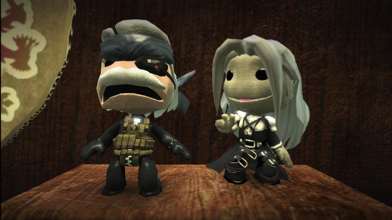 Sackboy Solid Snake and Sackboy Sephiroth