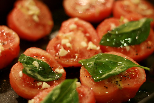 roasting tomatoes with basil & garlic © kirsten