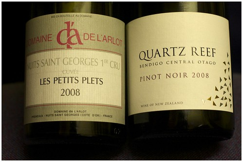 Quartz Reef Bendigo Pinot Noir and de l'Arlot NSG 1er Cru 2008 by mengteck