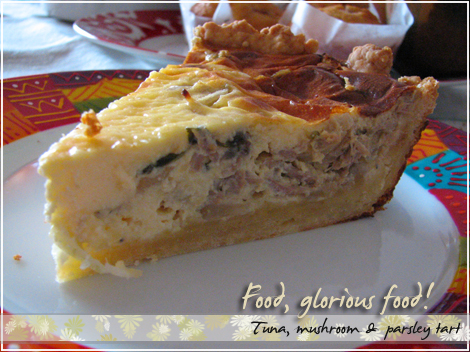 Tuna, mushroom & parsley tart