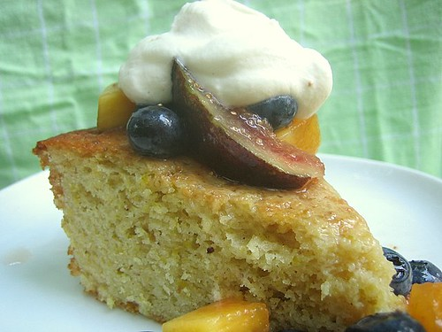 Pistachio Yogurt Cake with Figs, Blueberries and Peaches